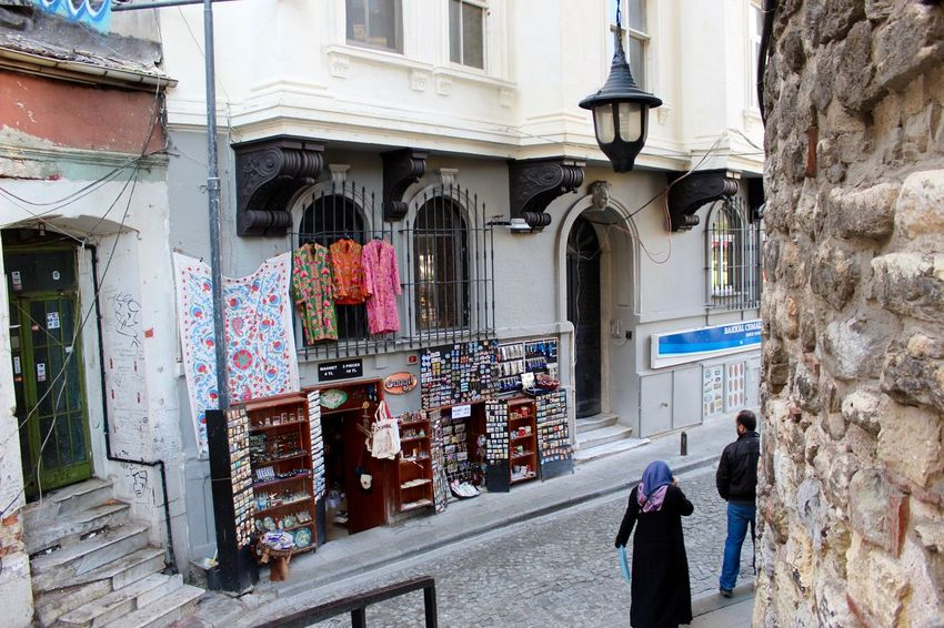 Architecture Building Exterior Built Structure City Life Cornershop Istanbul Istanbul Life Istanbul Streets Narrow Outdoors Person Residential Building Stretphotography Town Unrecognizable People Walking