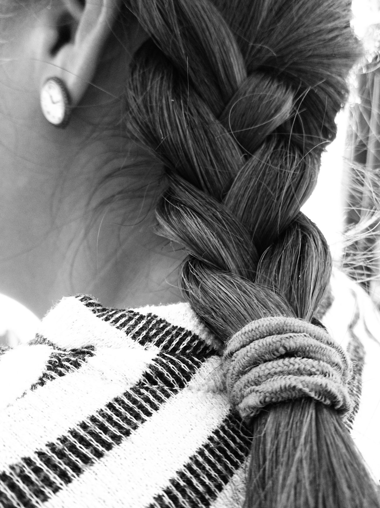Braided hair. B&w Black And White Braided Hair Close-up Day Hairstyle Human Body Part Mobile Photography One Person Outdoors Xperia ZL