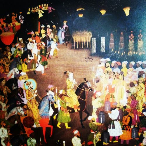 Ancient painting of Mughal emperor Shah Jahan during marraige procession of his son Dara Shikoh Check This Out Hello World Paintings Incredibleindia IndiaTravelDiaries Photography