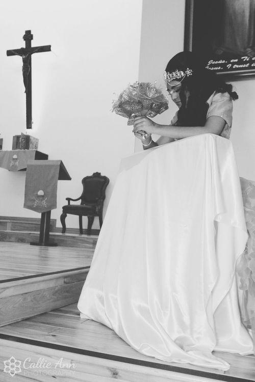 Leslie kneels in Prayer during her Quinceañera ceremony in Fortcollins Colorado. Sweet15 Blackandwhite OpenEdit EyeEm Best Shots EyeEmBestPics