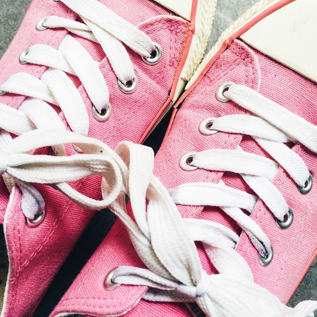 Pink sneakers Pink Sneakers Trainers Shoes Footwear White Laces Tied Laced Comfortable