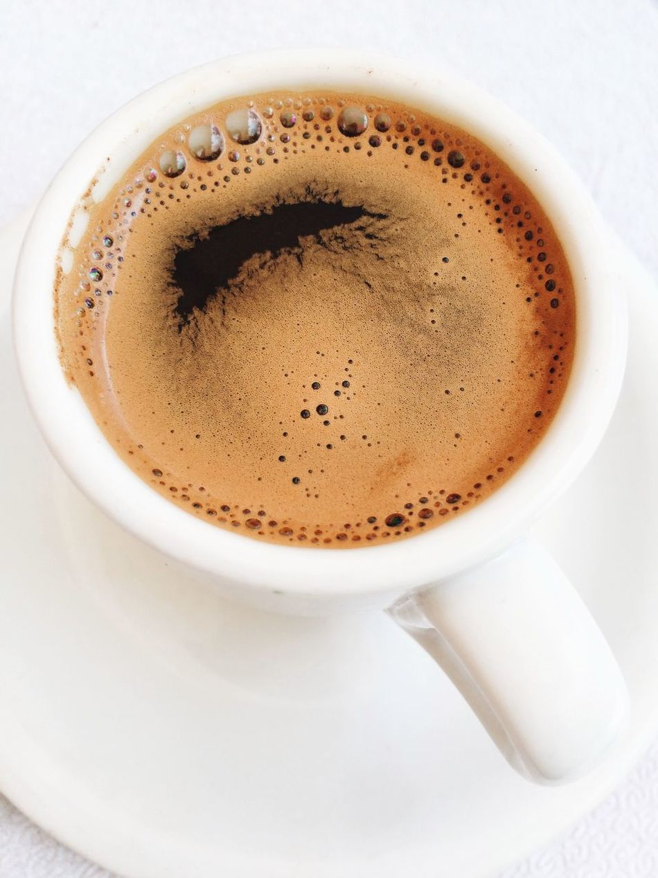 Greek coffee. Kefalonia, Greece. Photo by Tom Bland. Coffee - Drink Drink Coffee Cup Food And Drink Refreshment Close-up Cup IPhoneography IPhone Coffee Greek Coffee  Caffeine Espresso Greece Black Coffee Coffee Culture Looking Down Directly Above Circles Circle Crema