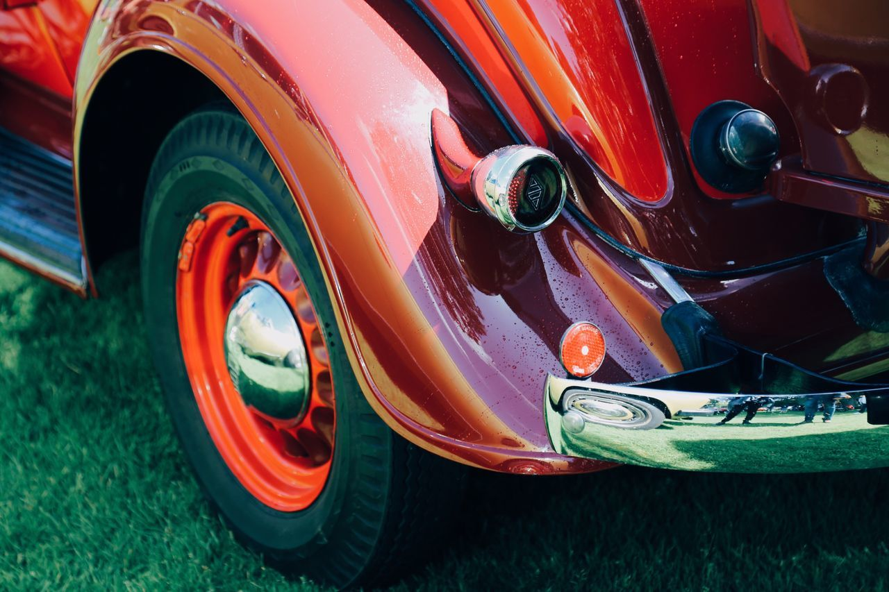 Wheel Red Transportation Tire Outdoors No People Multi Colored Close-up Day Collector's Car Racecar Speed Front Cars Red Drive Engine Land Vehicle Transportation Car Mode Of Transport Old-fashioned Chrome Shiny