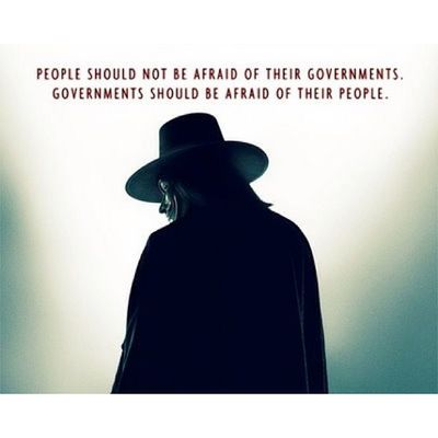 """""""People should not be afraid of their governments. Governments should be afraid of their people."""" Another post about V for Vendetta ?. Cause the movie's just so awesome. ? Vforvendetta  Government Philippines Porkbarrel movie quotes likes instalike"""