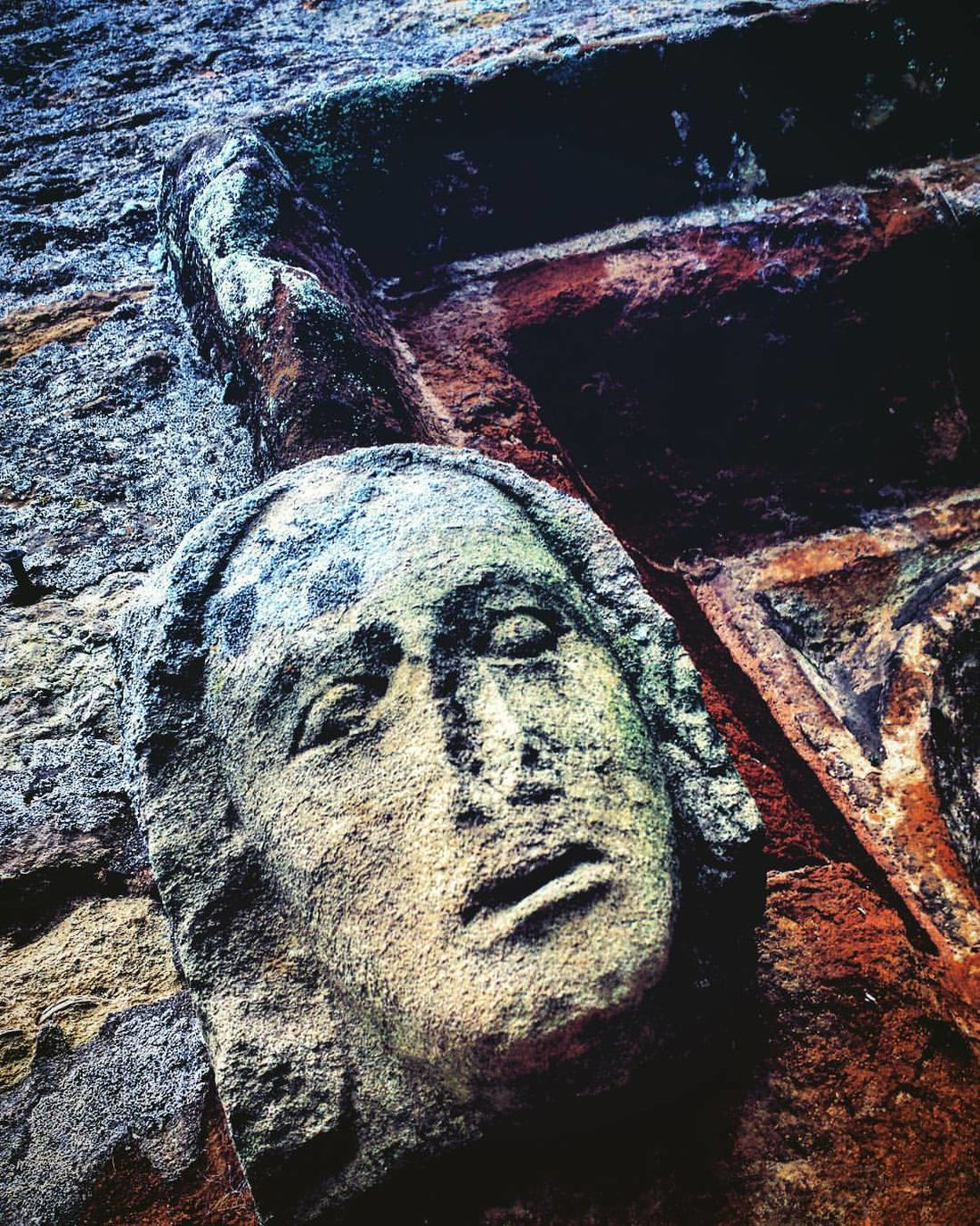 Contrast Detail Deterioration Old Stone Stone Face Texture Weathered Stone Face