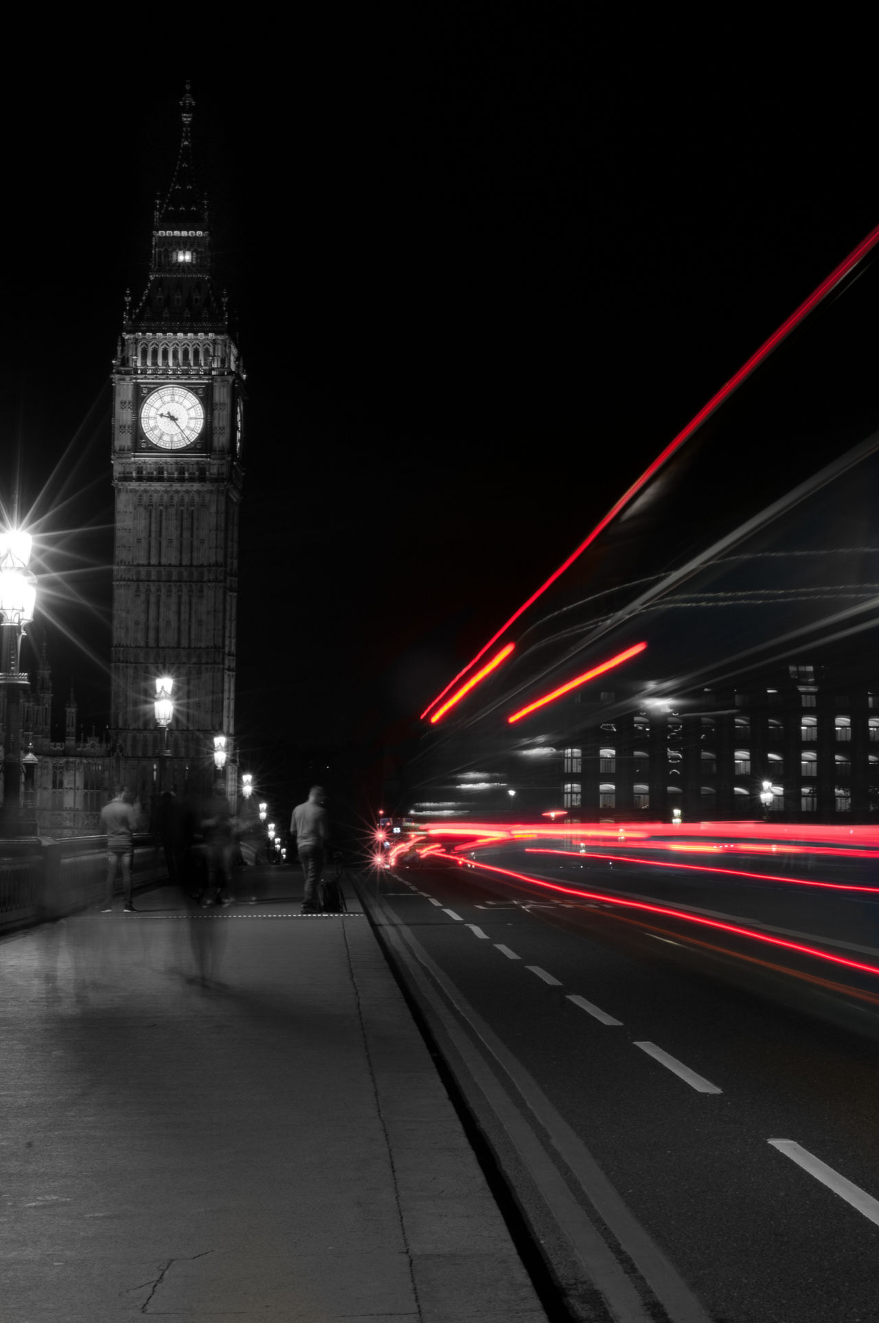Architecture Big Ben Bridge - Man Made Structure City Clock Clock Face Clock Tower Cultures Illuminated Light Trail Lightpainting Midnight Motion Night No People Outdoors Sky Time Transportation Travel Destinations Westminster Bridge