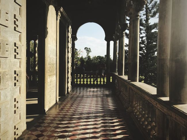 Old House Background Sunset Classic Vintage Spanish Style Spanish House Filipino House Columns Shadows Tiles Hallway Nature Patio Home Front Yard Mansion