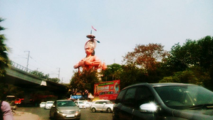 Hanuman Statue Big Statue Cars Roadscenes God Is Great. God Incredible View Lovely Sky