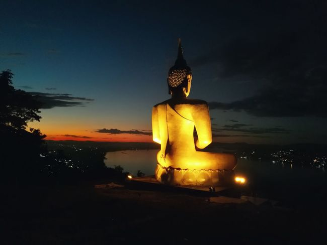 Religion Cultures Sky Statue Sunset Travel Destinations Spirituality No People Illuminated Tree Place Of Worship Architecture Water Night Outdoors Beauty In Nature