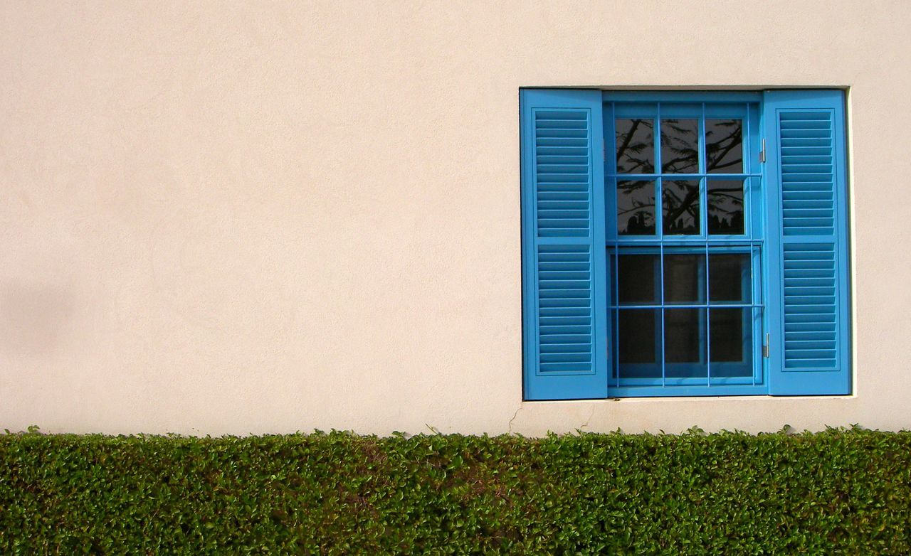 A white wall and blue window - Haifa, Israel Sommergefühle Happiness Sunshine Outdoors Baha'i Bahai Gardens Israel Haifa Summer Blue No People Architecture Window House Hedges Green Vibrant Colourful EyeEmNewHere The Week On EyeEm The Week On EyeEm