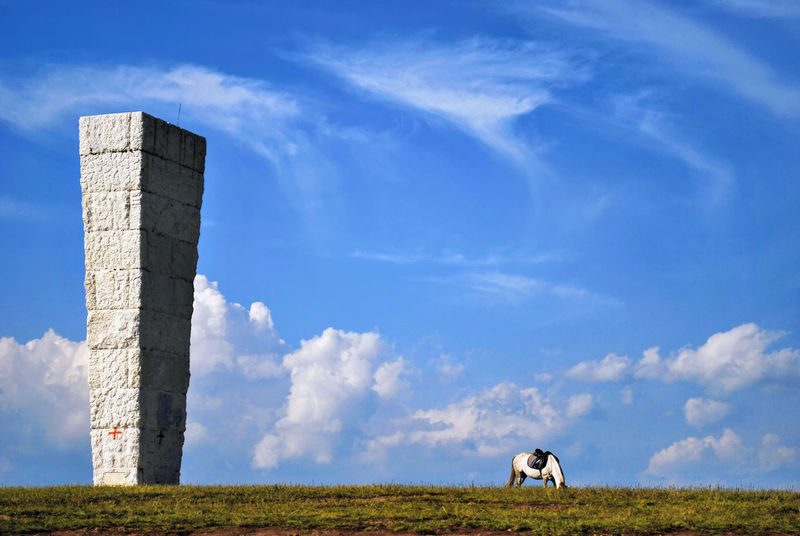 A horse is grazing the grass against big monument and cloudy sky. Balkan Field Grazing Grazing Horse Highland Livestock Saddle Standing Animal Themes Balkan Folklore Big Monument Cloud - Sky Grass Grazing Grass Grey Horse Highland Horse Highlands Horse Saddle Horse Saddled Mountain Horse Saddled Saddled Up And Ready To Go Tableland