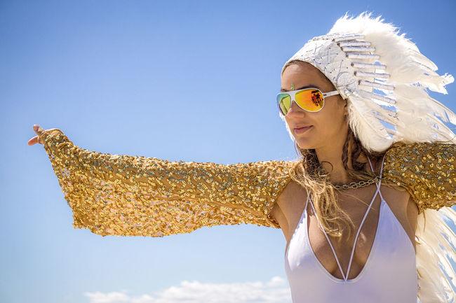 Prettily Incorrect Burner #burnergirl #burningman #burningman2015 #headdress Carefree Fashion Lifestyles Young Women