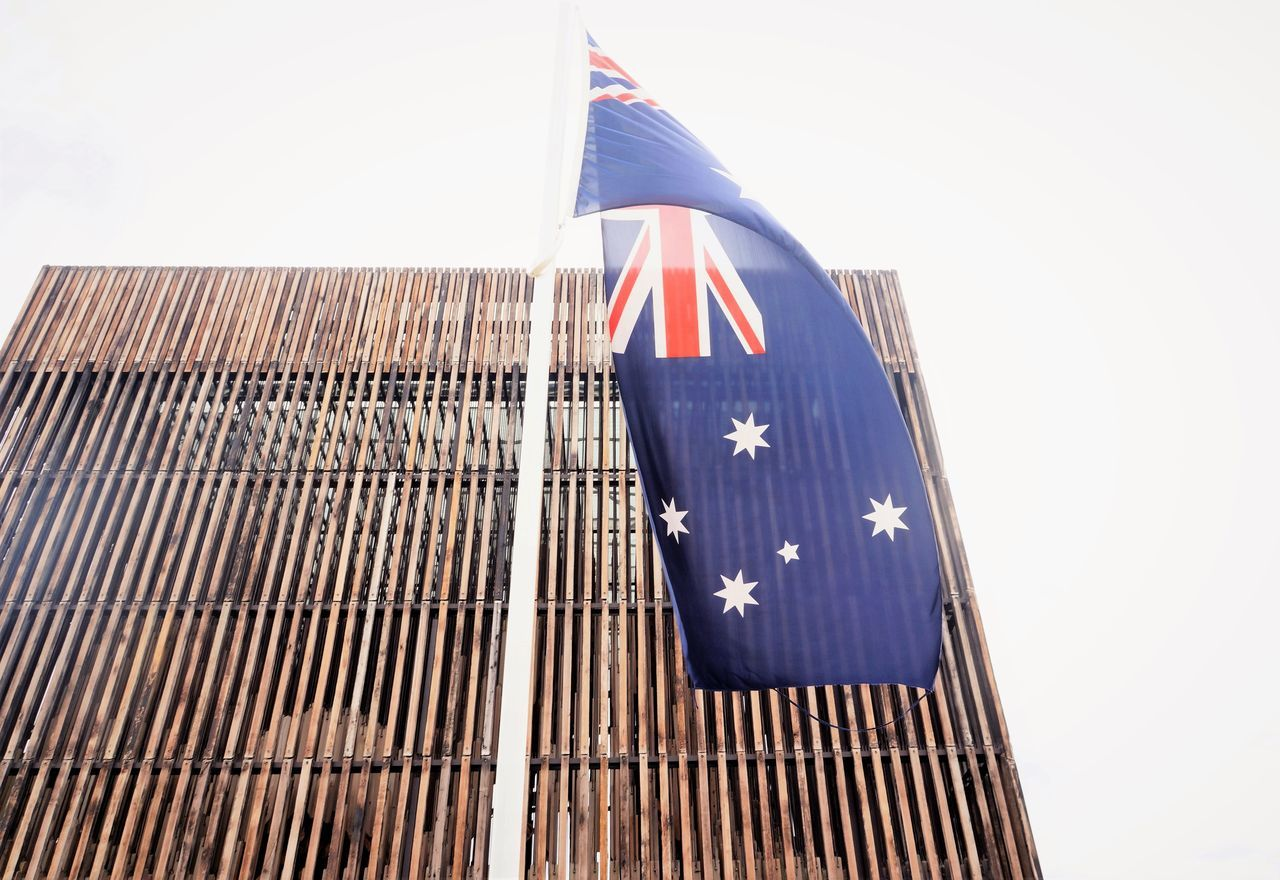 Architectural Feature Australia Australian Flag Australian Flag Flying In The Wind Country Day Daylight Flag Flagpole Flags In The Wind  Low Angle View Outdoors Patriotism Pride Proud Sky Southern Cross Standard Stars Union Jack Wind Wood Panelling Wooden Building Wooden Built Structure Wooden Slats Aussui aussie Aussie unfurl, Australia Day, Australians all let us rejoice