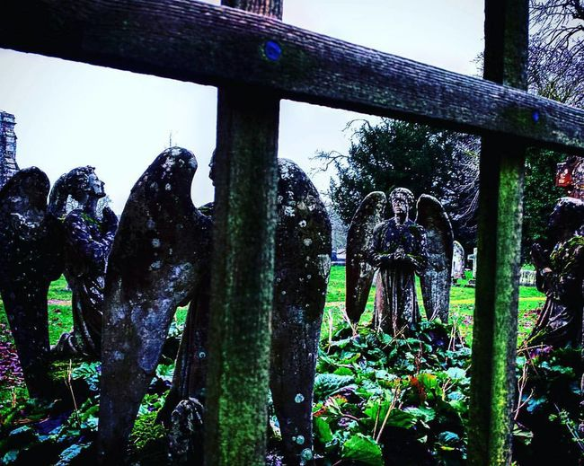 Art And Craft Cemetery Death Human Representation Old Outdoors Religion Sculpture Statue Structure The Angels Have Taken The Phonebox Weeping Angel