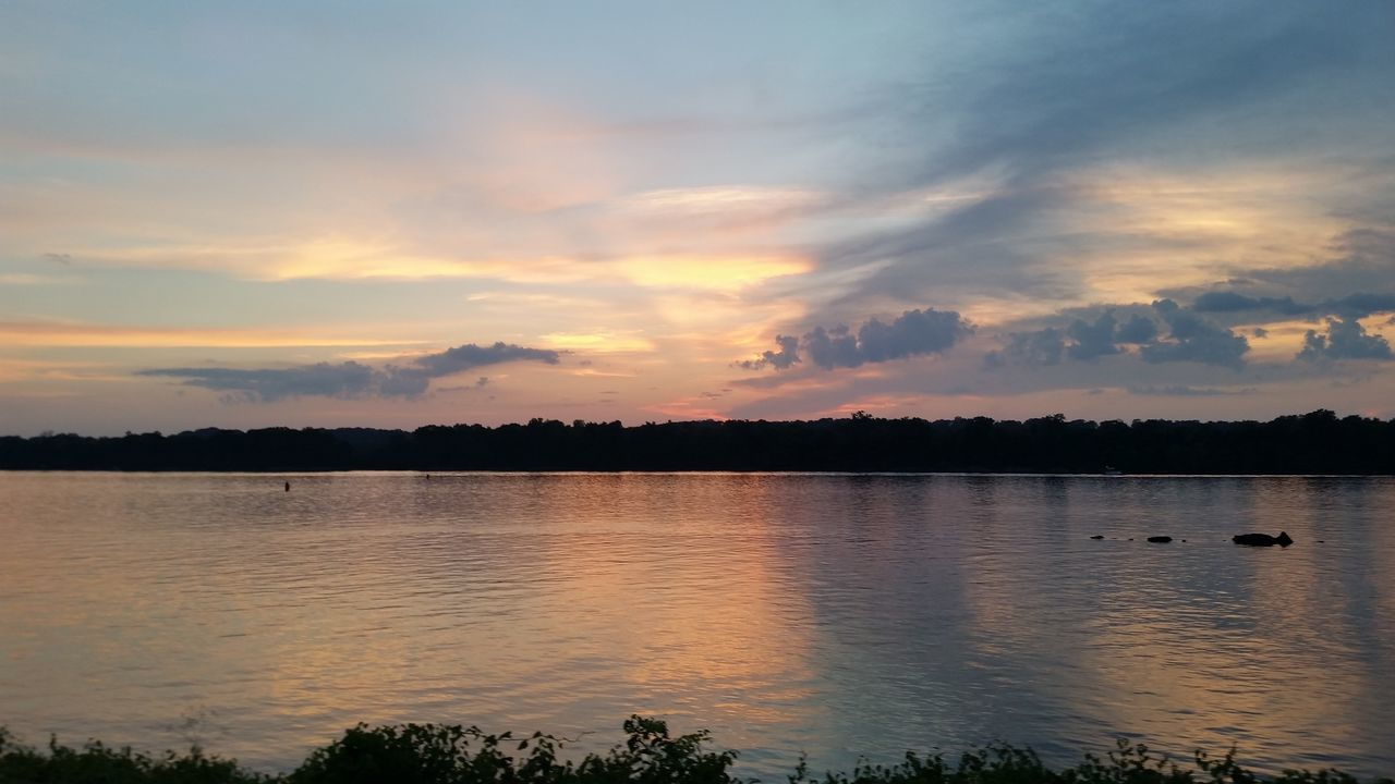 View Of Lake Against Cloudy Sky During Sunset