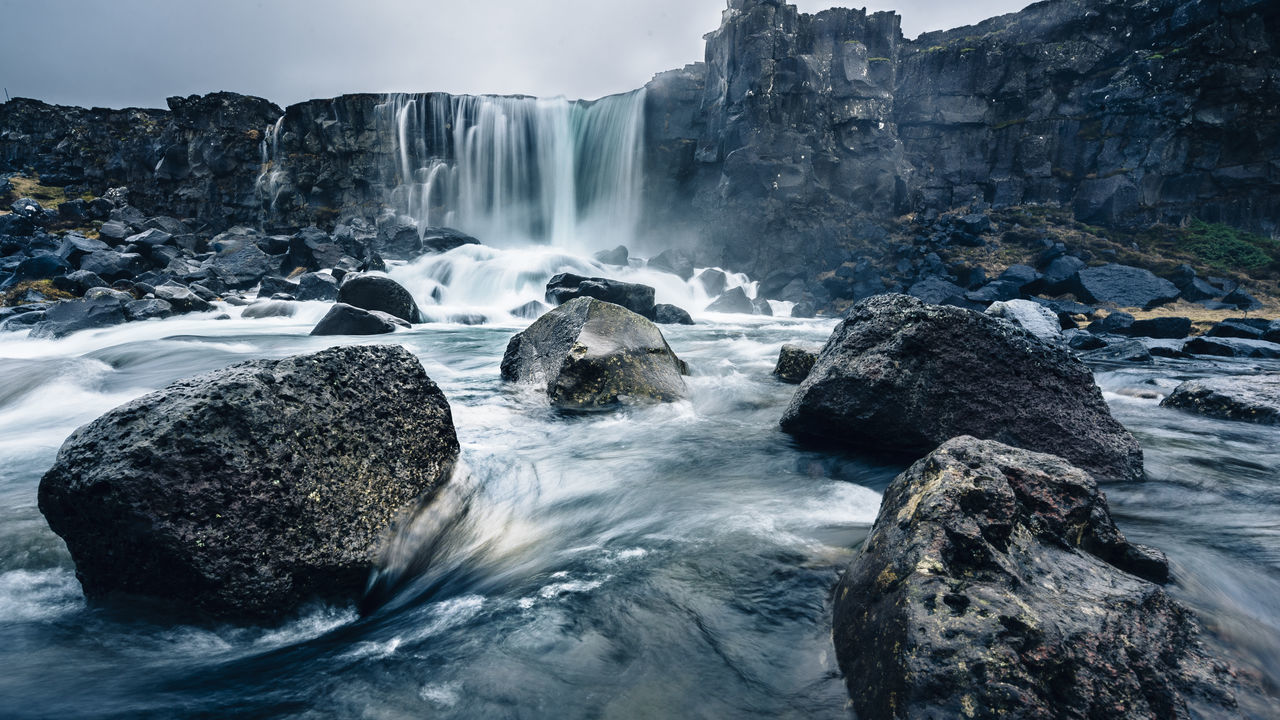 Iceland: Land of Ice and Fire. And Waterfalls Beauty In Nature Day Long Exposure Motion Nature No People Outdoors Rock - Object Scenics Tectonic Tectonic Plates And Earthquakes Tectonicplate Thingvellir Thingvellir National Park Travel Destinations Water Waterfall Wide Angle Wide Angle View Winter þingvellir The Great Outdoors - 2017 EyeEm Awards