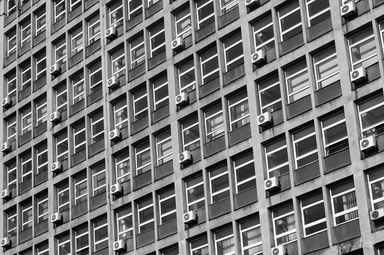 office coffins Air Conditioning Architecture Black And White Building Exterior Industrial Office Outdoors Pattern Ugly Windows