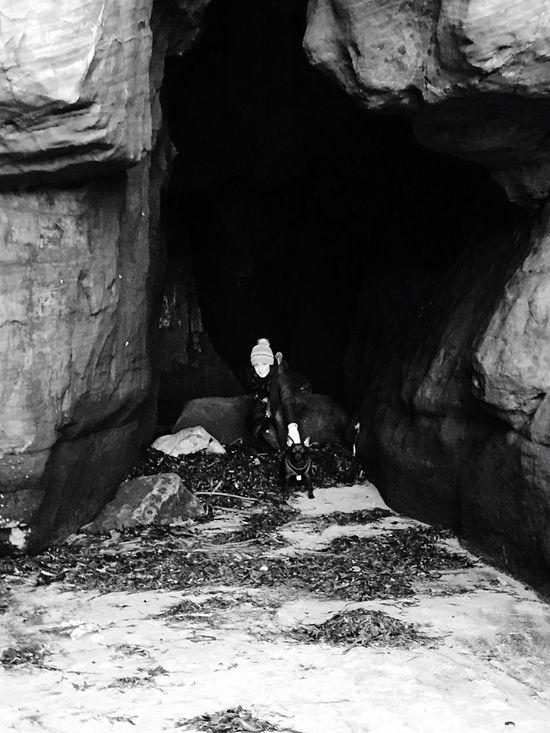Caves Tynemouth  Beach Dog Walking Tidesout Smugglers Cave Treasure Patterdale Monkey Dog Iphone 6 Monochromatic Monochrome Tyne And Wear EyeEm Abandoned Beautiful Scenery Eye4photography  Cullercoats