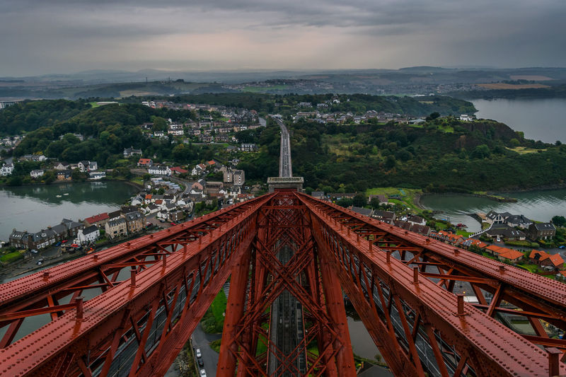 My view from the top of the Forth Rail Bridge. Green Color Red Scotland Architecture Bridge Bridge - Man Made Structure Building Exterior Built Structure Cloud - Sky Day Fife  Mountain Nature No People North Outdoors Sky Tree Water