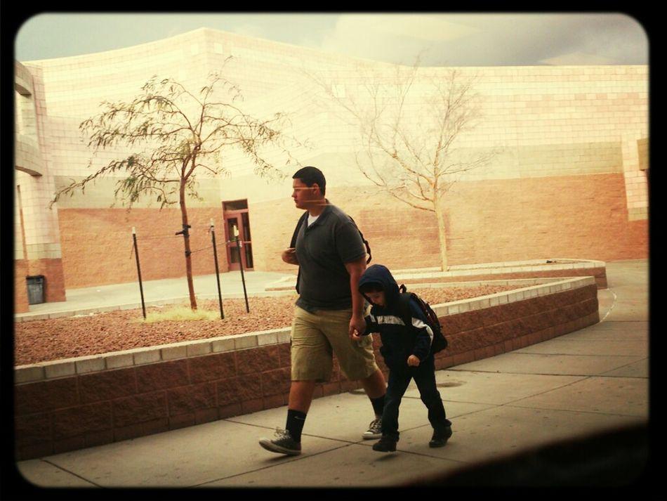 Caught Ethan walking his cute bro to school!! :)