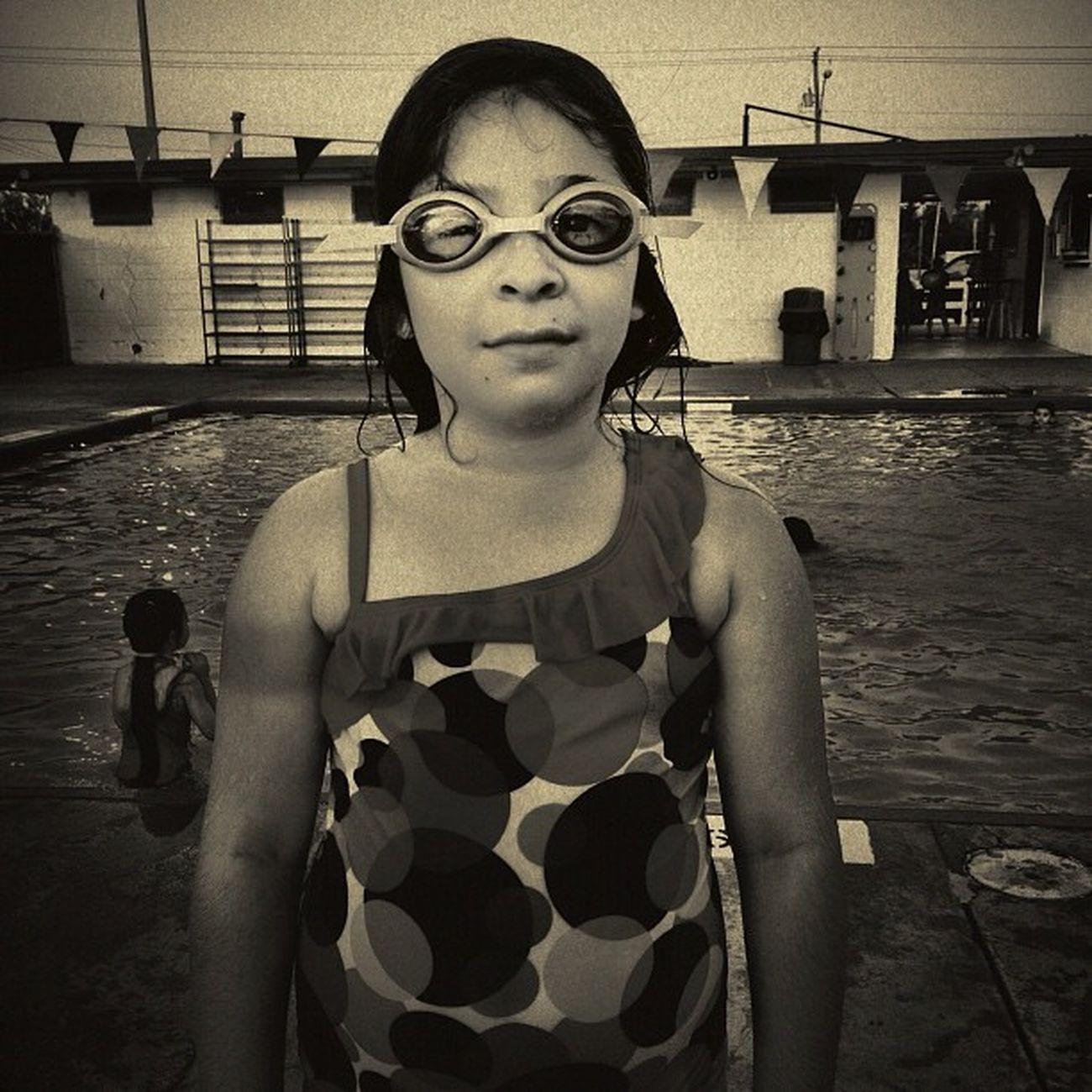 Lauryn at the pool Blackandwhite Swimming Portrait Children Mcallen People