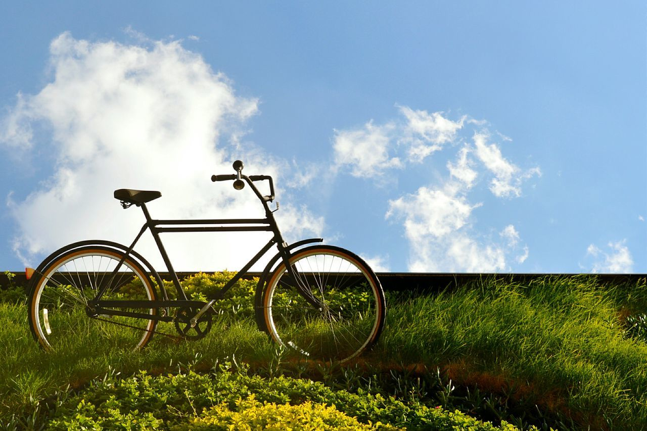 Beautiful stock photos of meadow, Bicycle, Cloud, Day, Grass