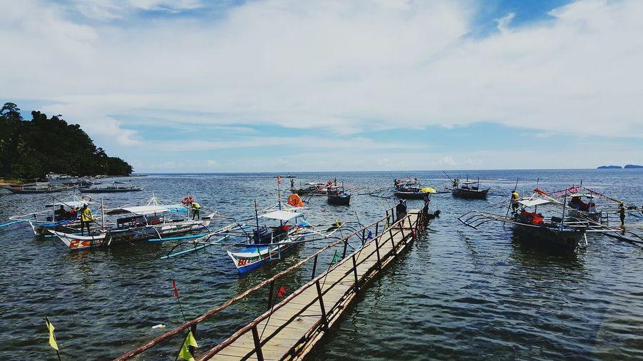 Puerto Princesa City Palawan Philippines Boats And Water Sea View Pier Waiting