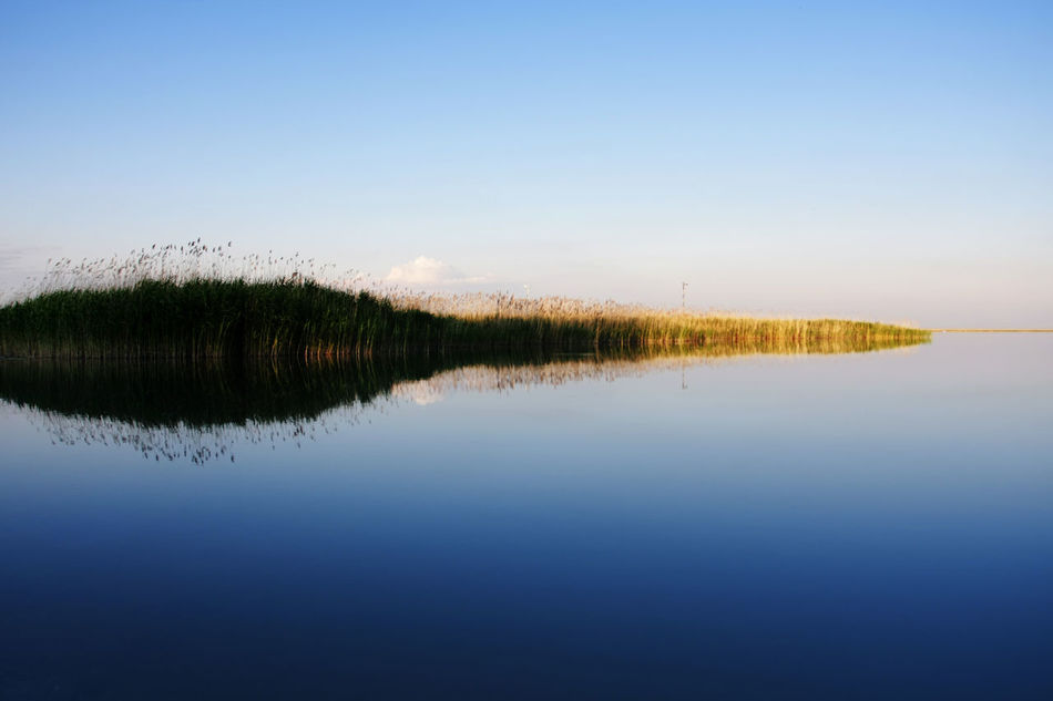 Beauty In Nature Blue Calm Countryside Day Grass Idyllic Lake Landscape Nature No People Non Urban Scene Outdoors Plant Reflection Remote Scenics Sea Sky Standing Water Tranquil Scene Tranquility Water Water Reflections