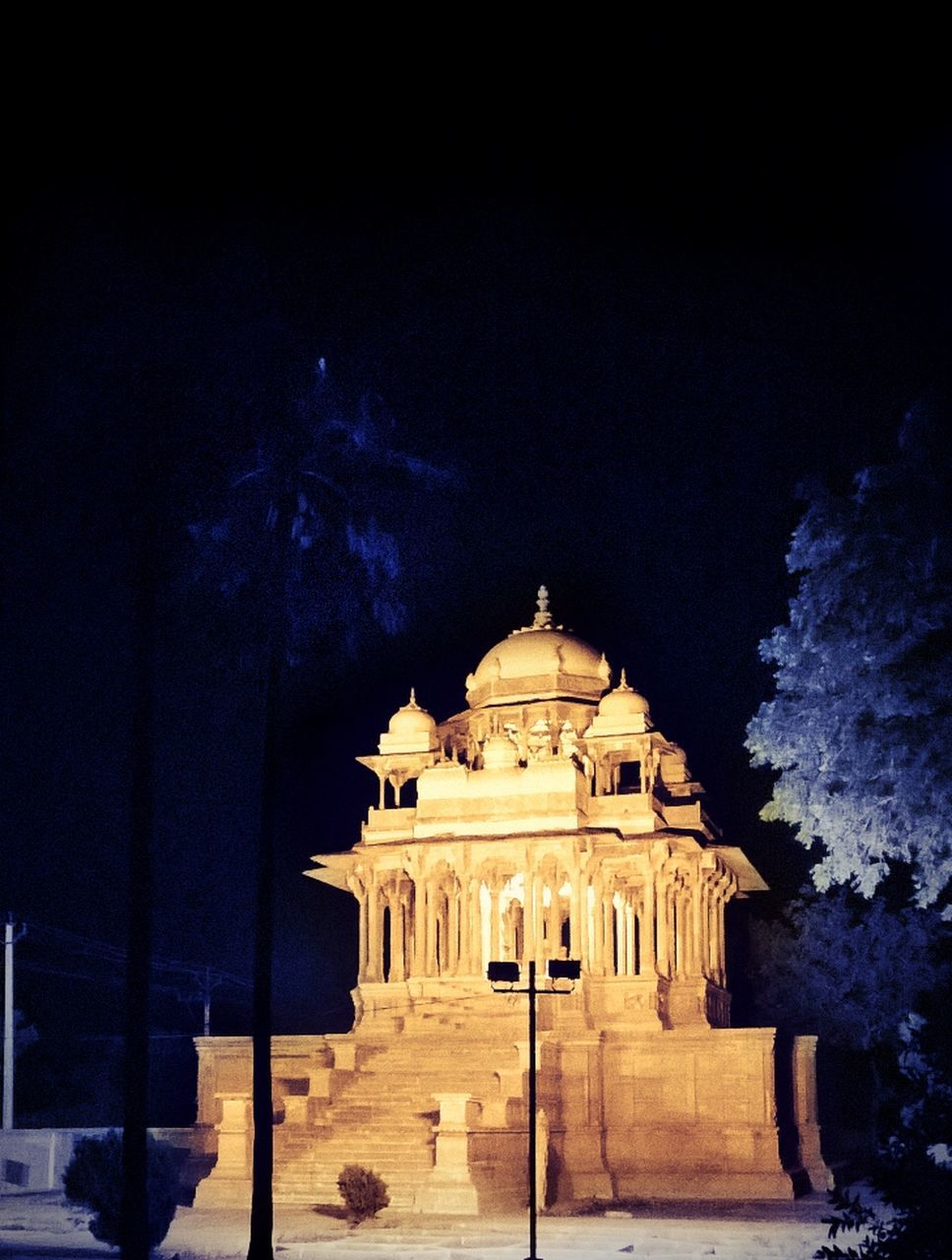 night, illuminated, history, built structure, architecture, travel destinations, building exterior, no people, outdoors, tree, architectural column, statue, sky, nature, ancient civilization