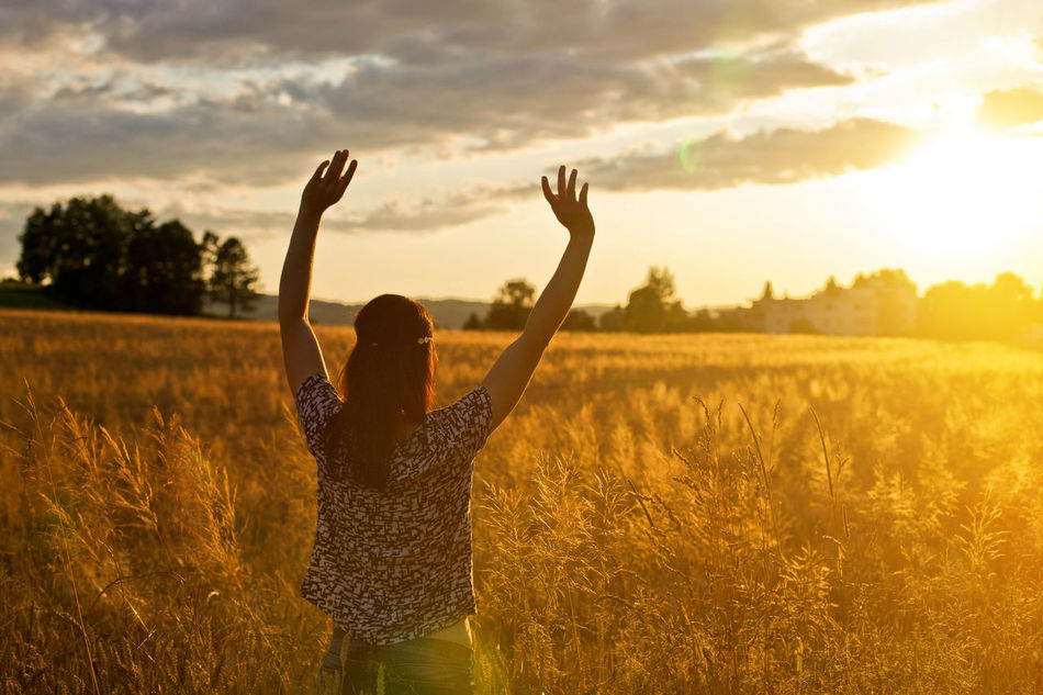 Adult Alive  Arms Raised Beauty Cheerful Emotional Emotions Field Freedom Goldenhour Grass Happiness Human Arm Human Body Part Nature One Person Outdoors Praise Praising The Lord Rear View Summer Sunset Wheat Woman Young Adult