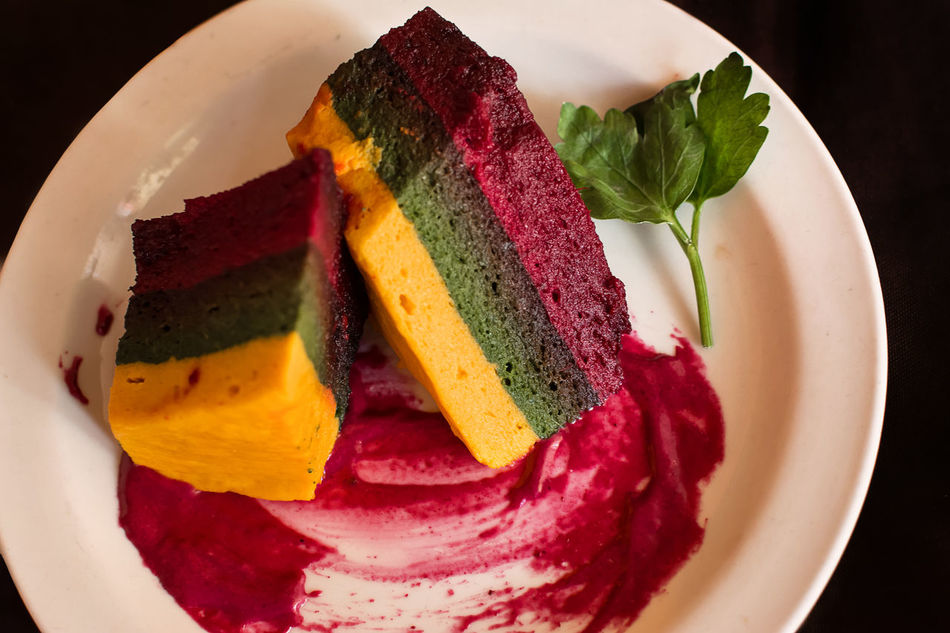 Flan Andean corn vegetables, chard and red beetroot Beet Beetroot Color Corn Food Food And Drink Green Layers Multi Colored Piece Plate Ready-to-eat Red Salad Shapeless Vegan Vegetables Vegetarian Yellow