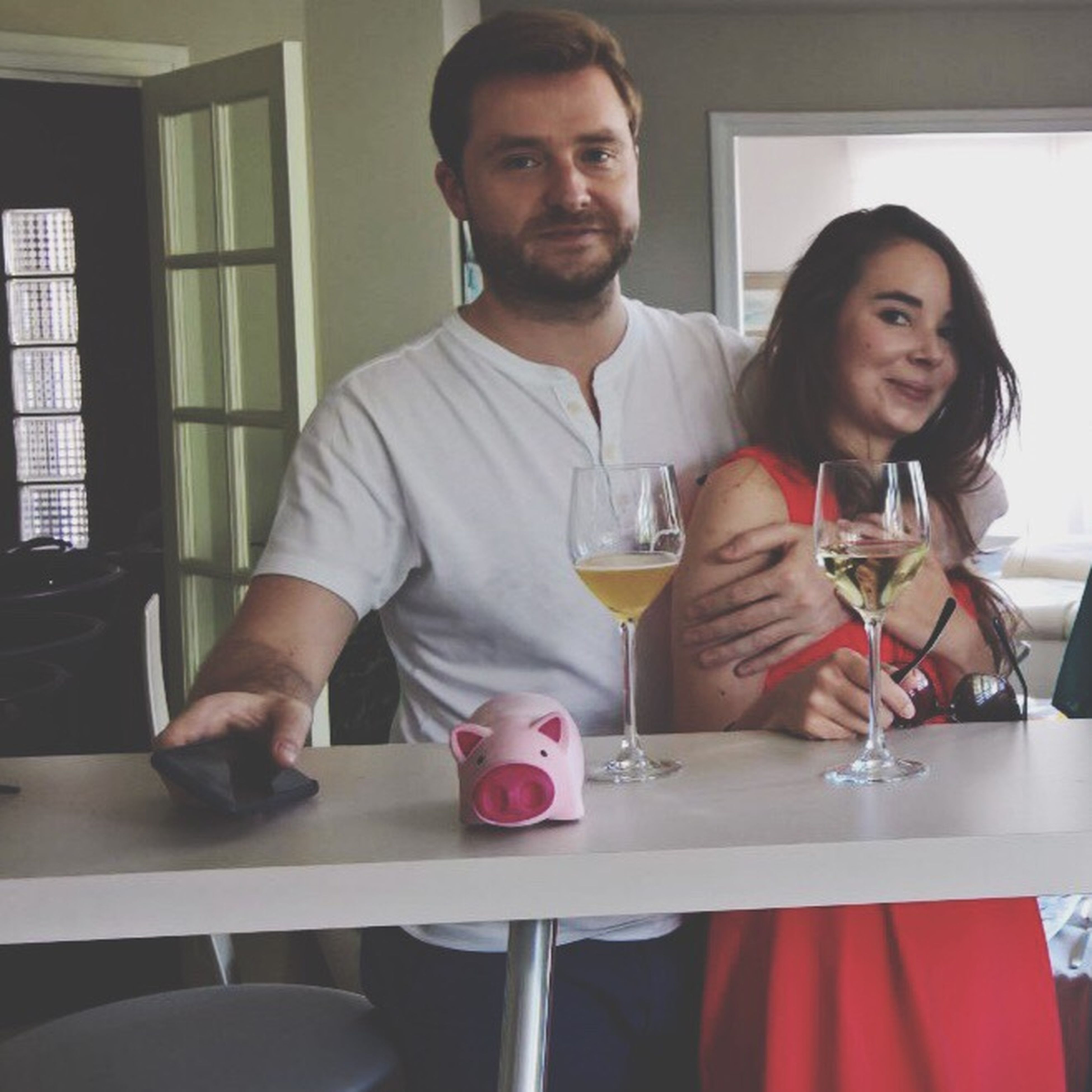 two people, table, drinking, wine, food and drink, looking at camera, indoors, love, drink, portrait, smiling, friendship, alcohol, sitting, young adult, young women, day, adult, people