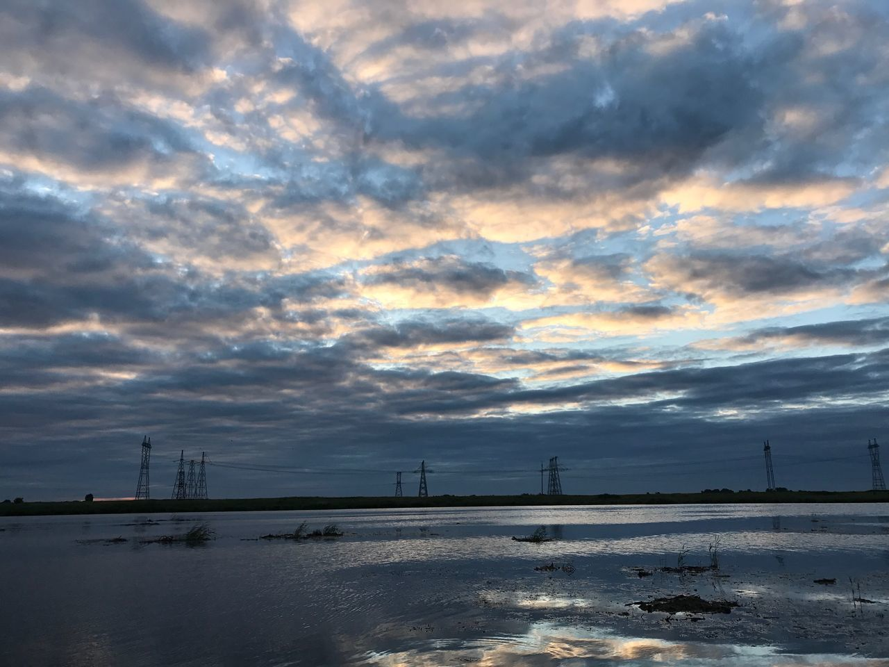 cloud - sky, sky, no people, water, outdoors, sunset, nature, cold temperature, electricity pylon, day, beauty in nature