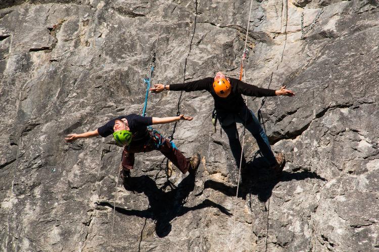 In the wall Adventure Balance Climber Climbing Ropes Courage Fun Horizontally Mountain Climbing Mut Outdoors RISK RISK Rock Rock Formation Seil Freedom Vertrauen Trust Joy Of Life