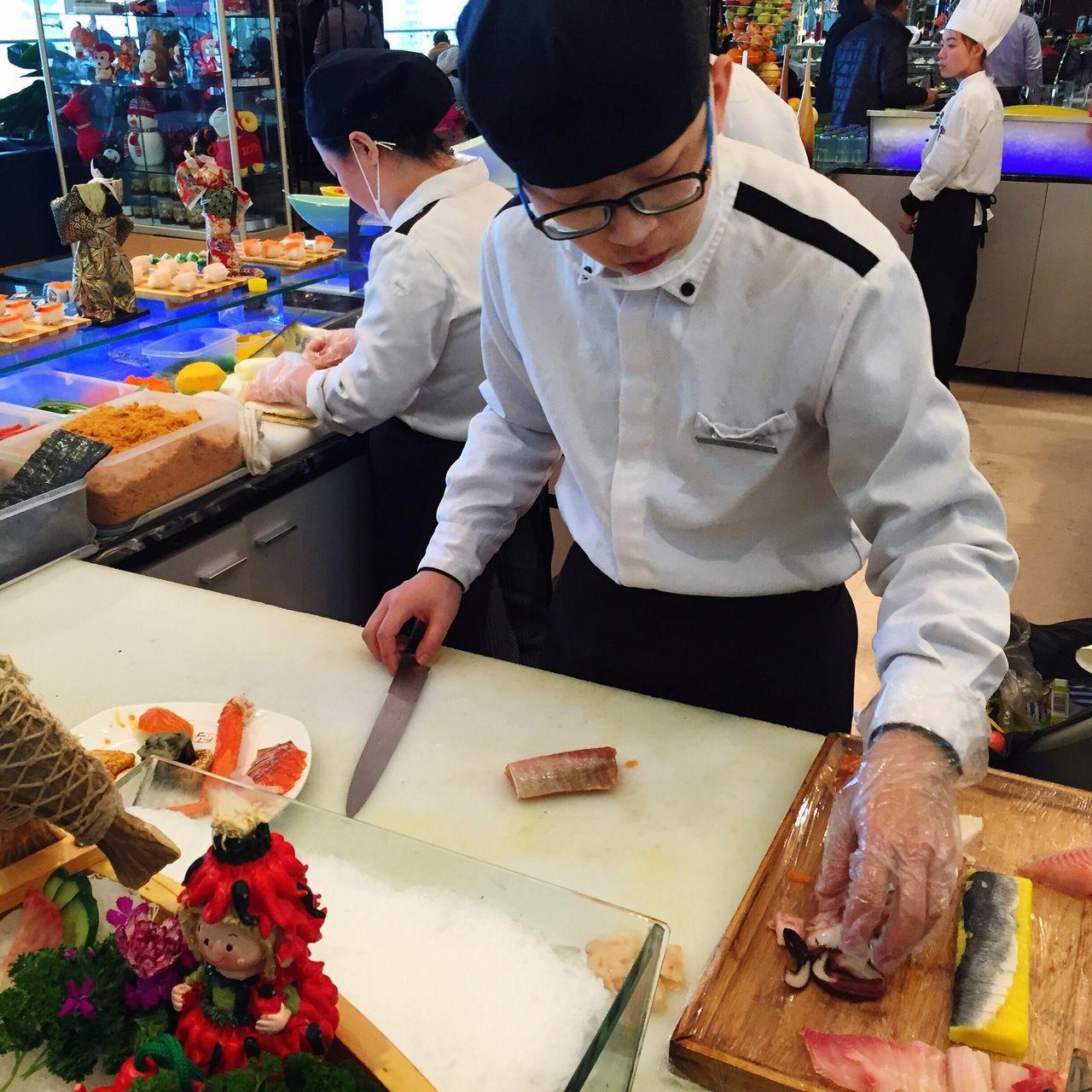 料理 生鱼片 自助餐 酒店 烟台 山东 Cooking Fish Buffet Hotel Yantai China Japanese Food 日式料理