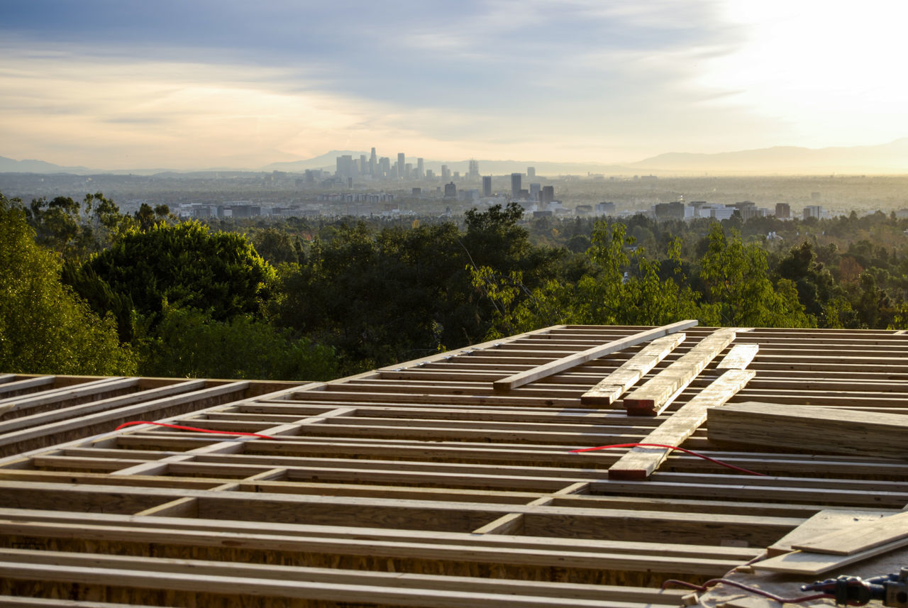 The view from the office. Architecture Building Built Structure City Cityscape Clouds Day Framing High Up In The Mountains Los Angeles, California Lumber No People Outdoors Rappensuncle Selective Focus Sky Skyscraper Sumlight Sun Travel Destinations Trees And Nature Urban Skyline View