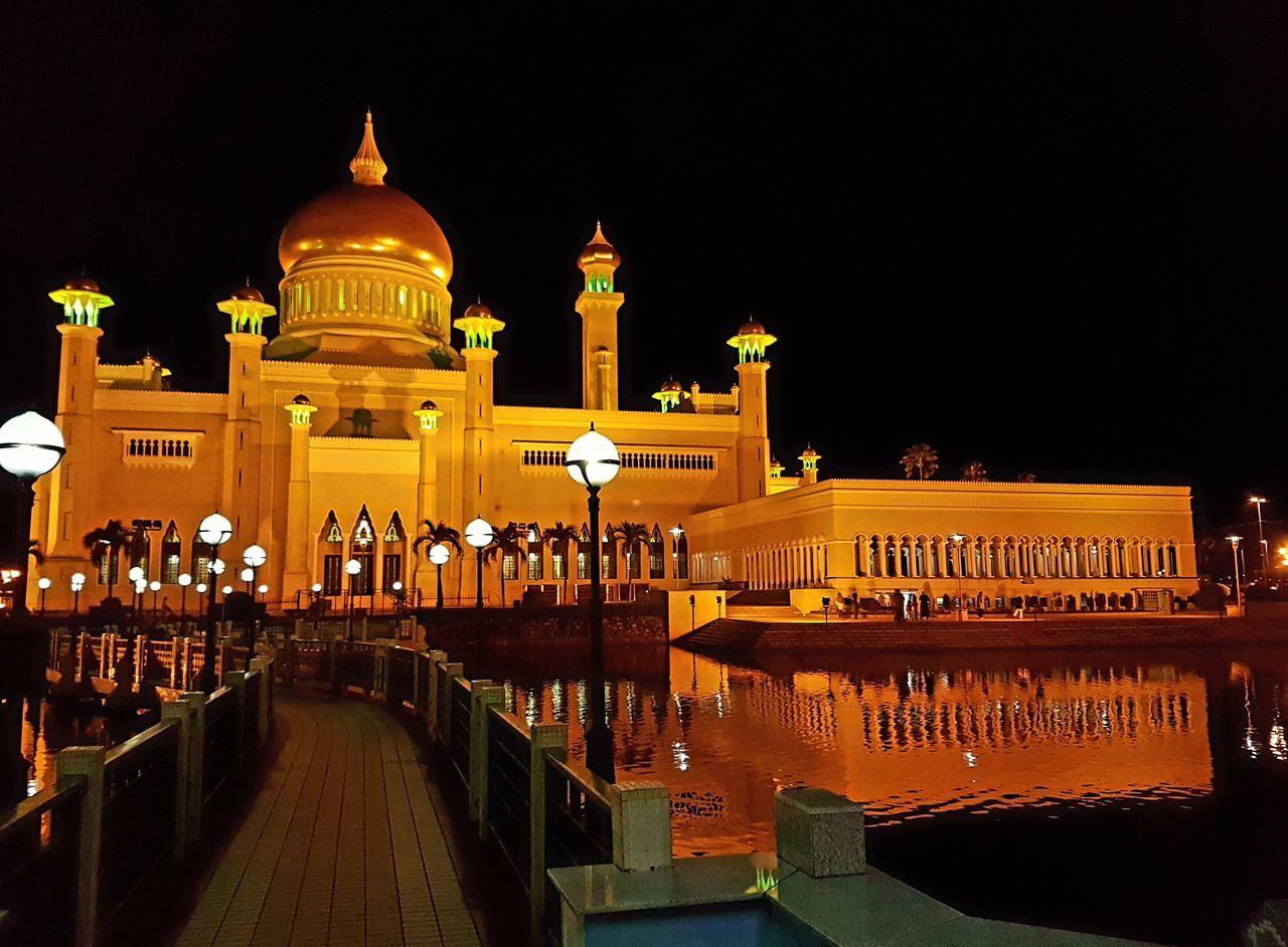 mosque at night. Night Illuminated Architecture Travel Destinations City Sky Brunei Darussalam Mosque Mosque Architecture