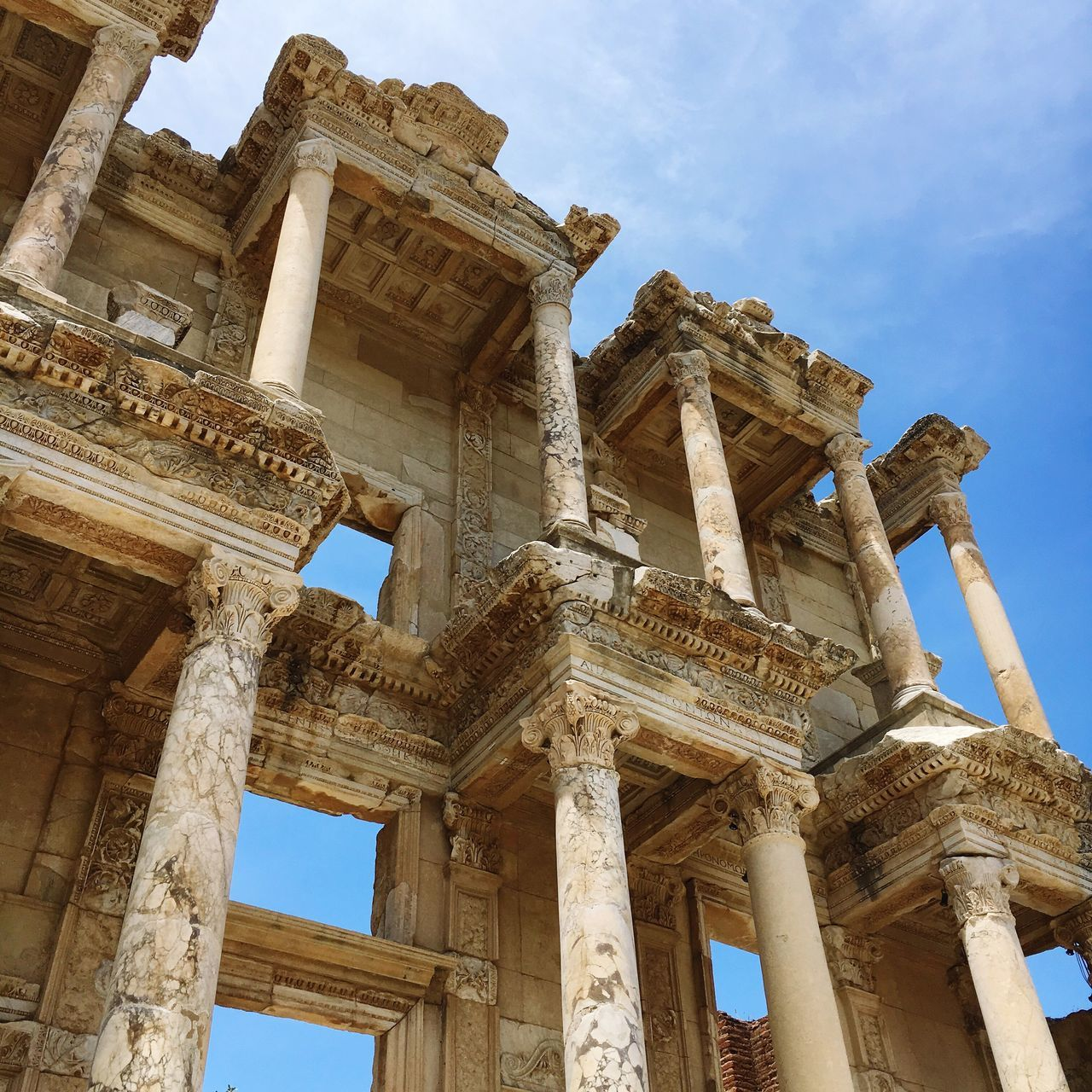 Low Angle View Of Library Of Celsus Against Sky