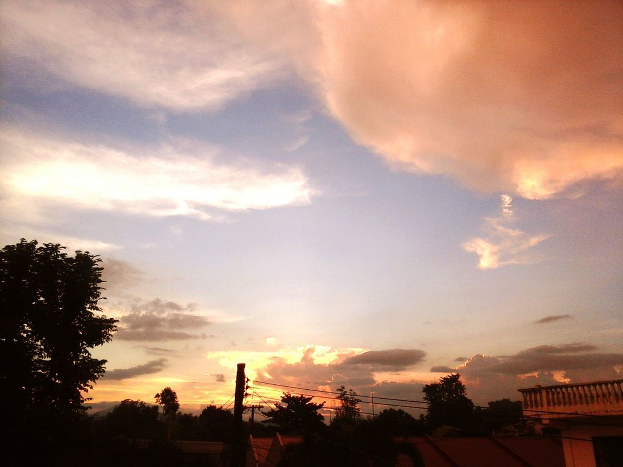 cloud - sky, sky, sunset, tree, silhouette, nature, beauty in nature, no people, scenics, outdoors, low angle view, built structure, tranquility, building exterior, architecture, day