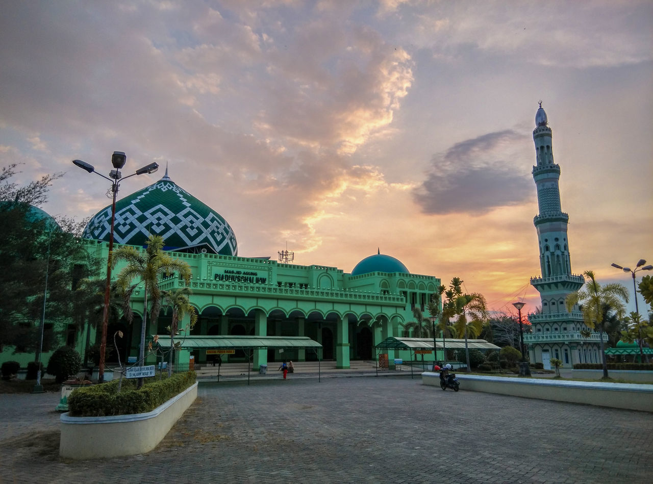 Masjid Agung Riyadusshalihin Architecture Building Exterior City Cloud - Sky Day Dome EyeEmNewHere Green Green Color Land Mark Landscape Masjid Mosque No People Outdoors Sky Tranquility Travel Destinations The Secret Spaces The Street Photographer - 2017 EyeEm Awards The Great Outdoors - 2017 EyeEm Awards The Photojournalist - 2017 EyeEm Awards