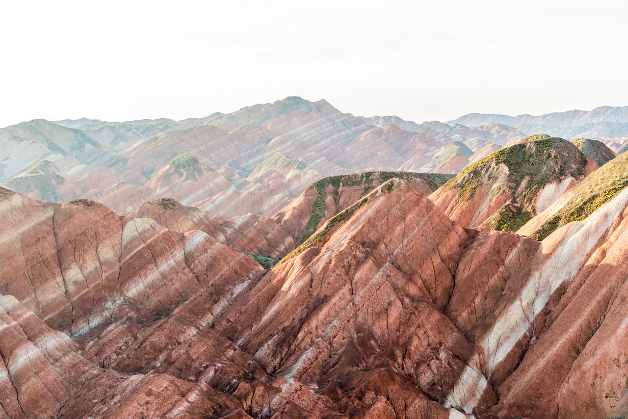 Lines of colour at the Zhangye Danxia Landform Arid Climate Arid Landscape Blue China Colorful Rocks Gansu Gansu Province High Resolution Landscape Lines Mountain Orange Color Patterns Red Remote Sky Strata  Tranquility Travel Travel Destinations Zhangye  Zhangyedanxialandform