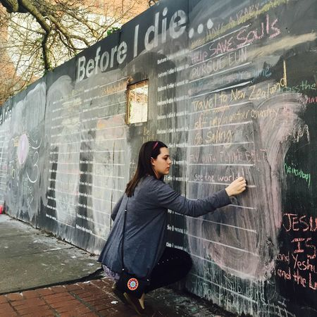 Before I die Asheville, NC Before I Die Bucket List Casual Clothing Chalk Board City City Life Day Leisure Activity Lifestyles North California Outdoors Portrait Travel Travel The World Traveling