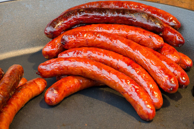 kielbasa hot sausage street food Barbeque Food And Drink Freshness Grilled Healthy Eating Kielbasa Many Pork Chops Sausage Street Food