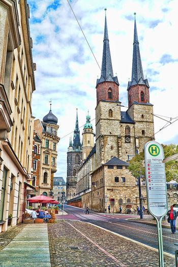 Architecture Building Exterior Built Structure City City Life City Street Halle/Saale Kerk Kirche