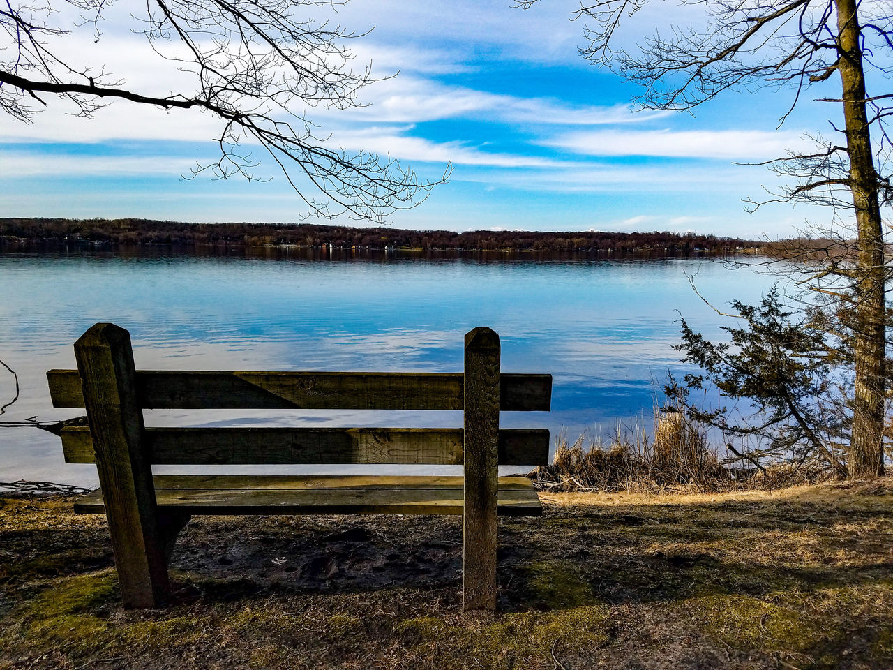 Water Sky Nature Beauty In Nature Outdoors Lake No People Day Scenics Bench Wooden Bench Growth ForestGrass Trail Springtime Spring March 2017 Minnesota Koronis Regional Park Park Lake View Lake Koronis Freshness Explore