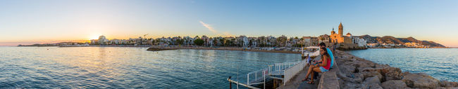 sitges panorma Beach Beauty Cityscape Coastline Day Harbor Horizontal Landscape Landscape_Collection Nautical Vessel No People Outdoors Panorama Sea Sitges Sky Sunset Travel Travel Destinations Urban Skyline Vacations Water Yachting