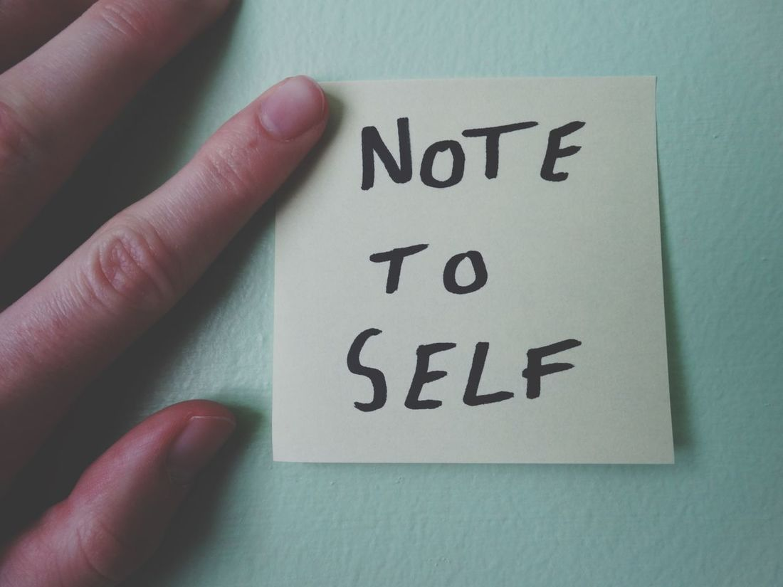 """""""Note to self"""" Text Western Script Indoors  One Person Human Finger Human Hand Communication Human Body Part Real People Close-up Note Day People Notes Sticky Notes Sticky Note Office Home Message Note To Self Taking Notes"""