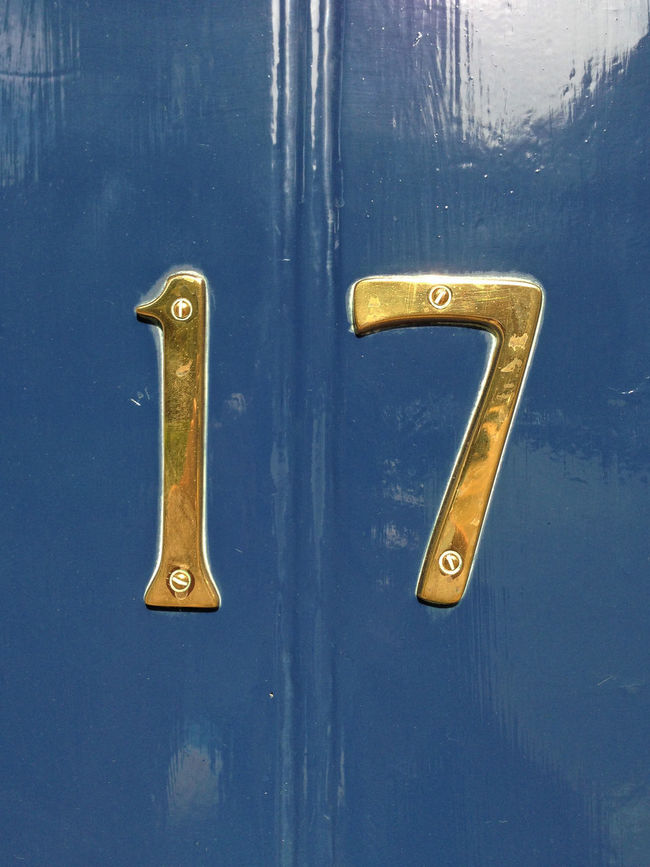 no 17 on a blue door 17 Address Blue Door Blue Paint Close-up Communication Creativity Detail Door Door Number Entrance House Door Metal Metallic No People Number Numbers Numbers Only Single Object Still Life