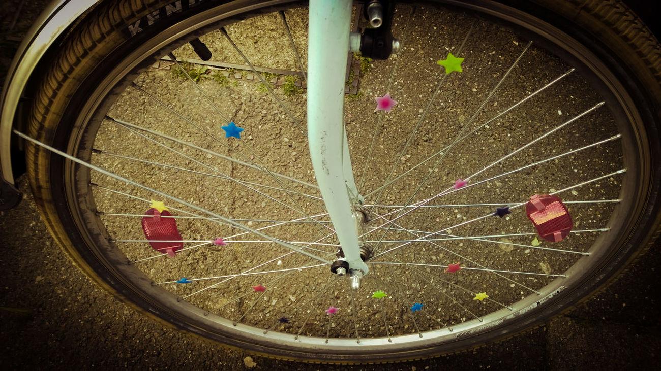 Bike Bike Tires With Spoke City Life Close-up Day High Angle View No People Outdoors Spokes Starry Sky Stars Stars & Dreams Streetart Tire Urban