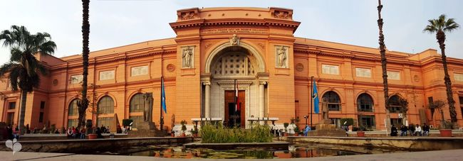 The Egyptian Museum Building Exterior Architecture Built Structure Façade Tourism History Window Travel Destinations Arch Large Group Of People Statue Famous Place Entrance City City Life Tourist Architectural Column Sky Person Pharaoh Egypt